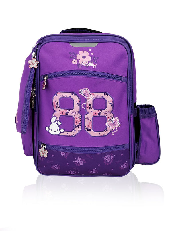 Flower Power - 16in Backpack (Purple)  - Robby Rabbit Girls