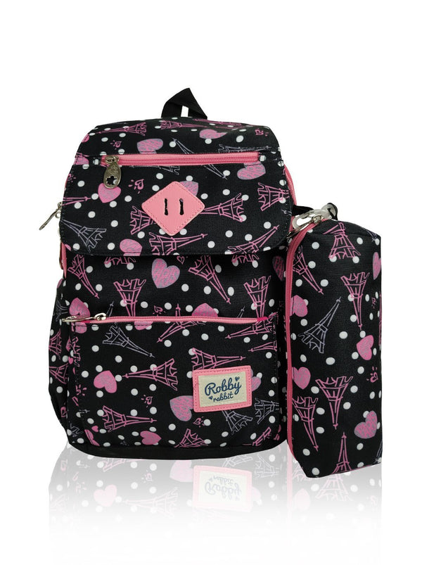 Paris Catwalk - 13in Backpack (Black)  - Robby Rabbit Girls