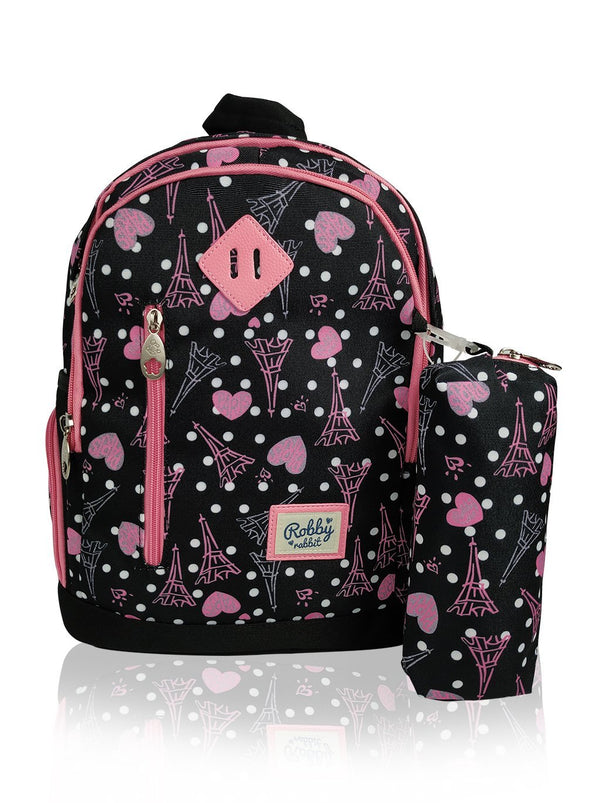 Paris Catwalk - 15in Backpack (Black)  - Robby Rabbit Girls