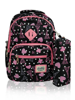 Paris Catwalk - 16.5in Backpack (Black)  - Robby Rabbit Girls