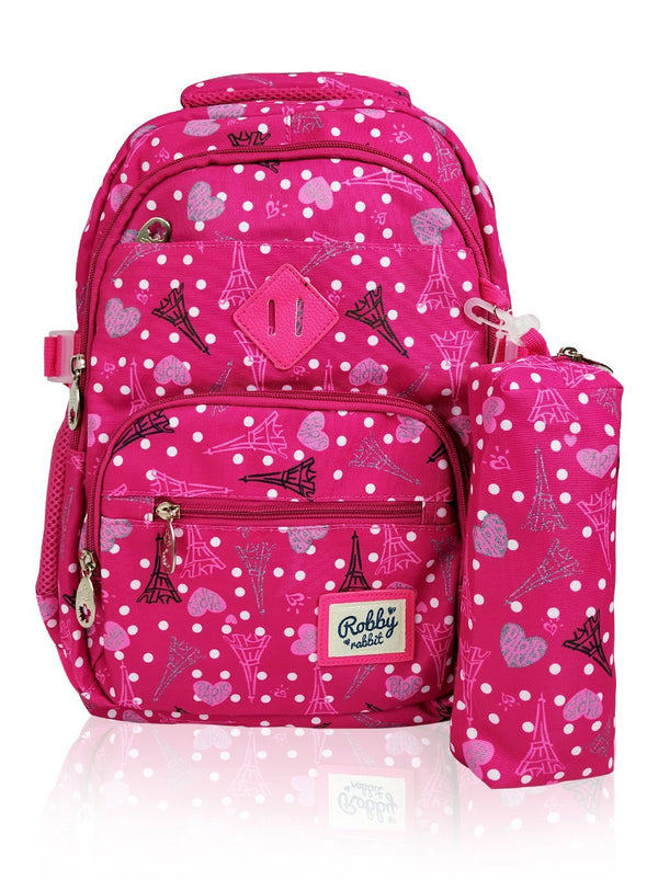 Paris Catwalk - 16.5in Backpack (Pink)  - Robby Rabbit Girls