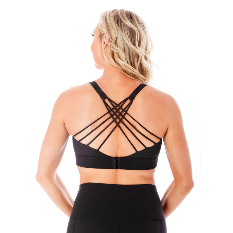 Strappy Back 2.0 Nursing Sports Bra - Black
