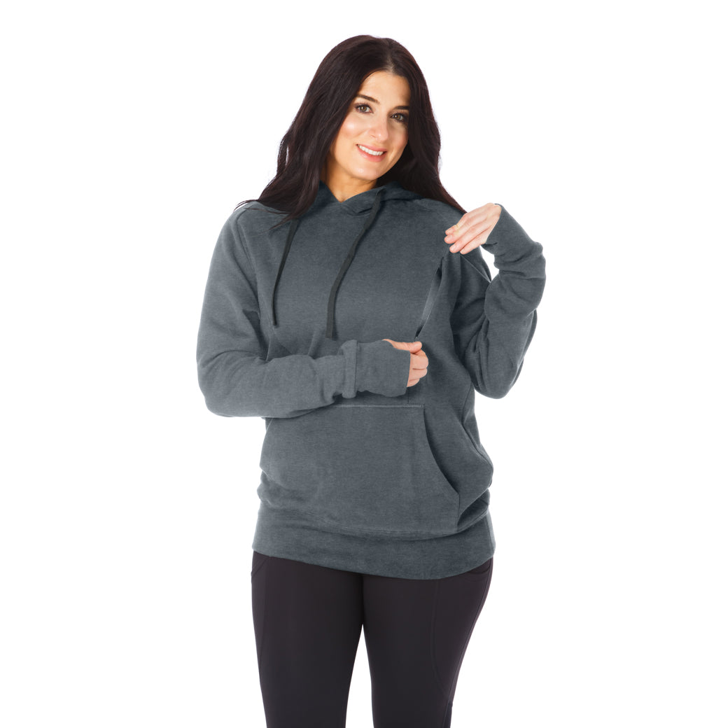 Cozy Up Nursing Hoodie - Dark Heather Gray