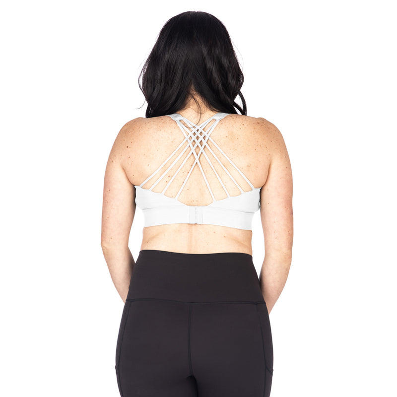 Strappy Back 2.0 Nursing Sports Bra - White