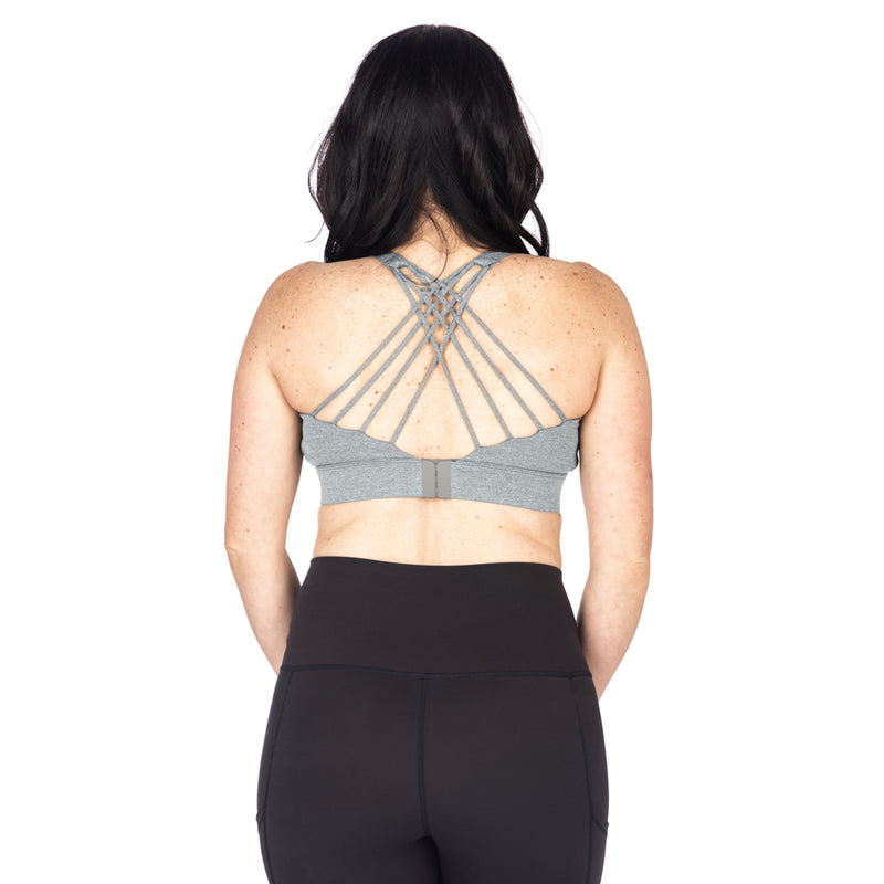 Strappy Back 2.0 Nursing Sports Bra - Light Heather Grey