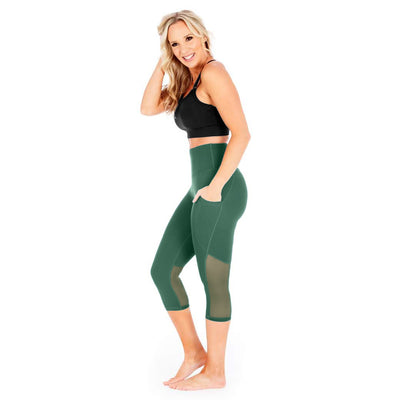 Mesh Out Capri Leggings - Forest Green