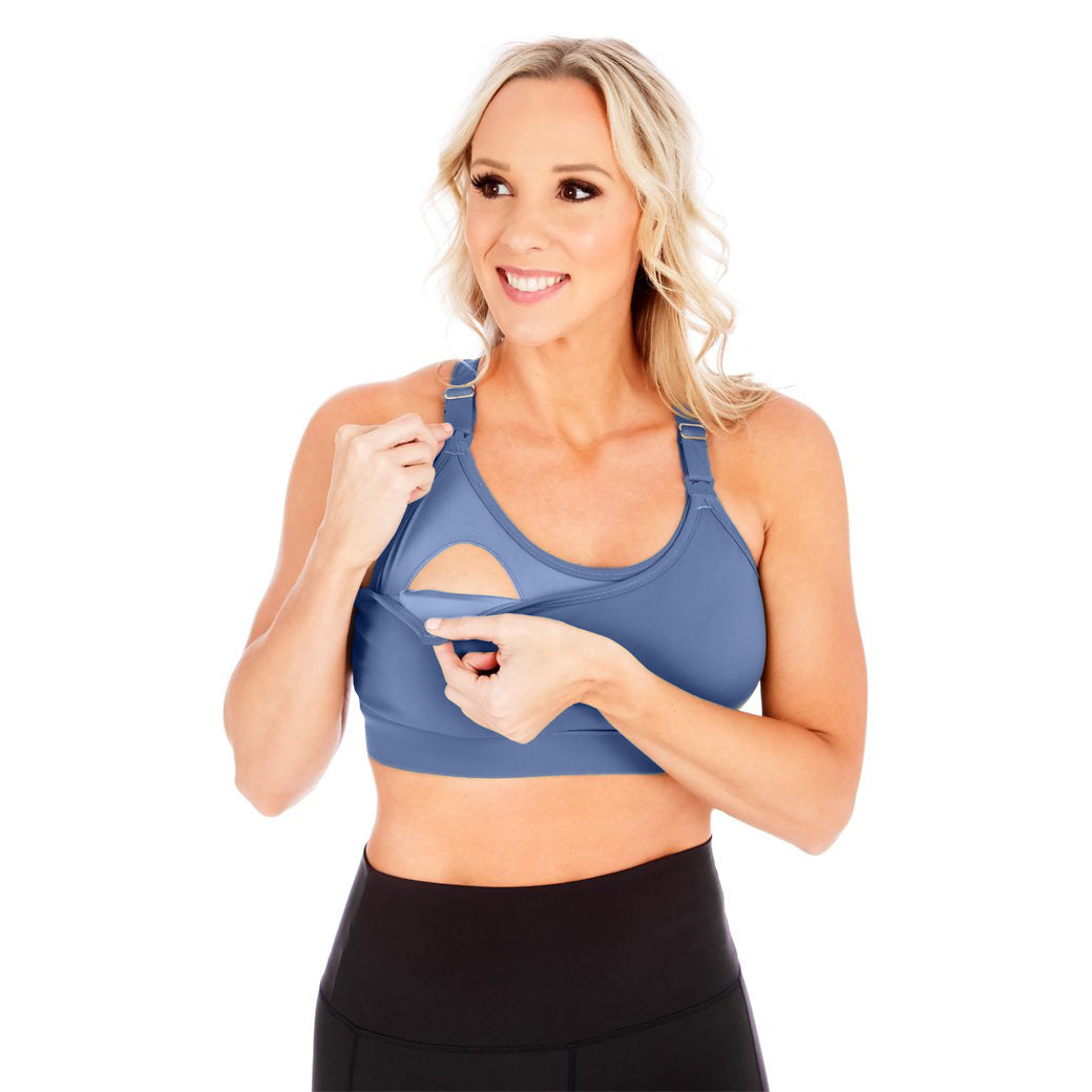 Strappy Back 2.0 Nursing Sports Bra - Slate Blue