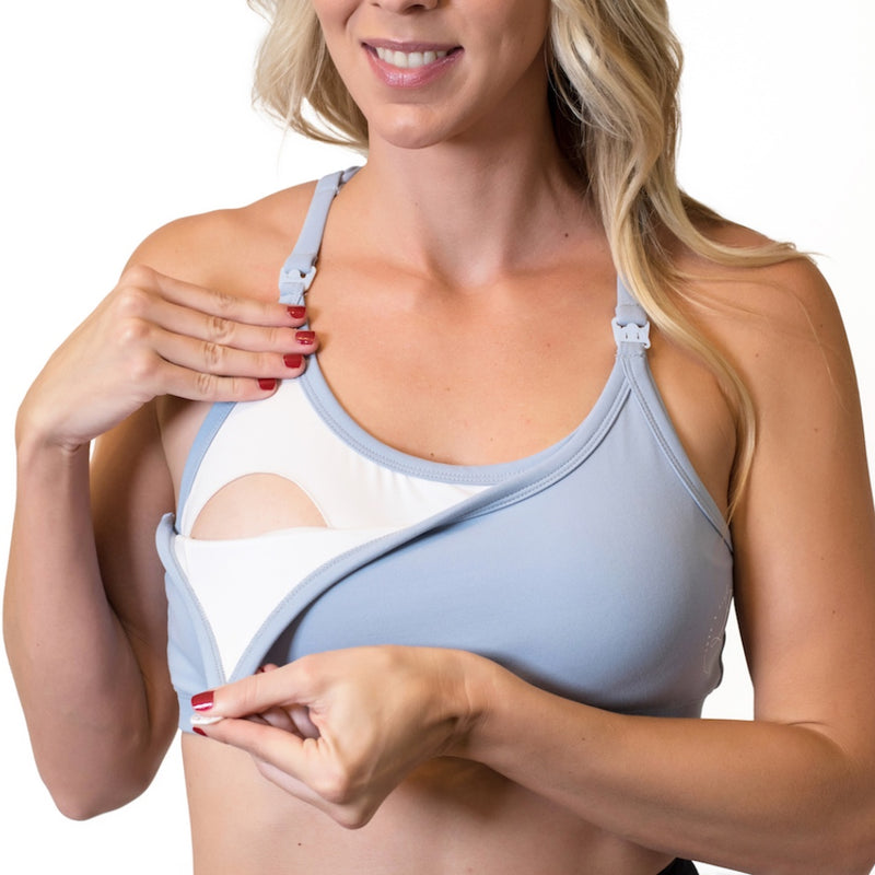 Strappy Back Nursing Sports Bra - Periwinkle