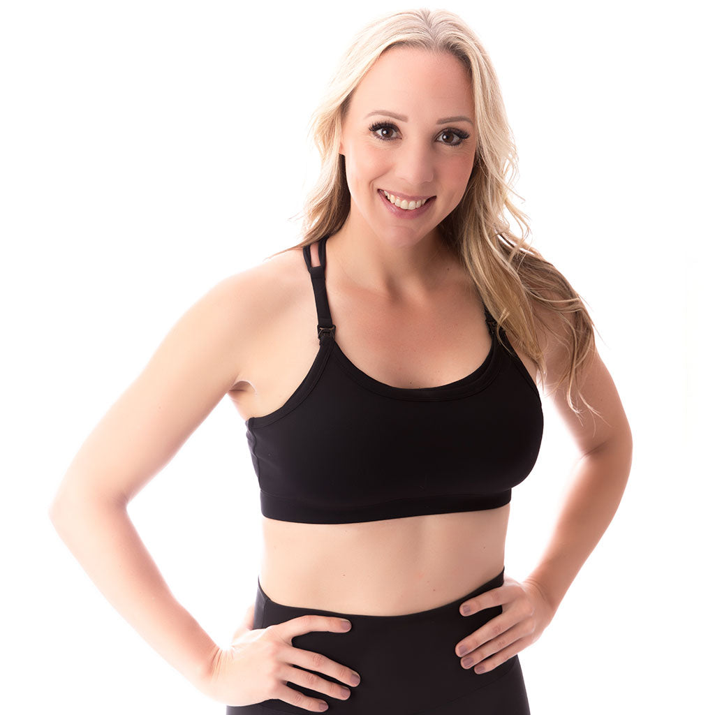 Strappy Back Nursing Sports Bra - Black