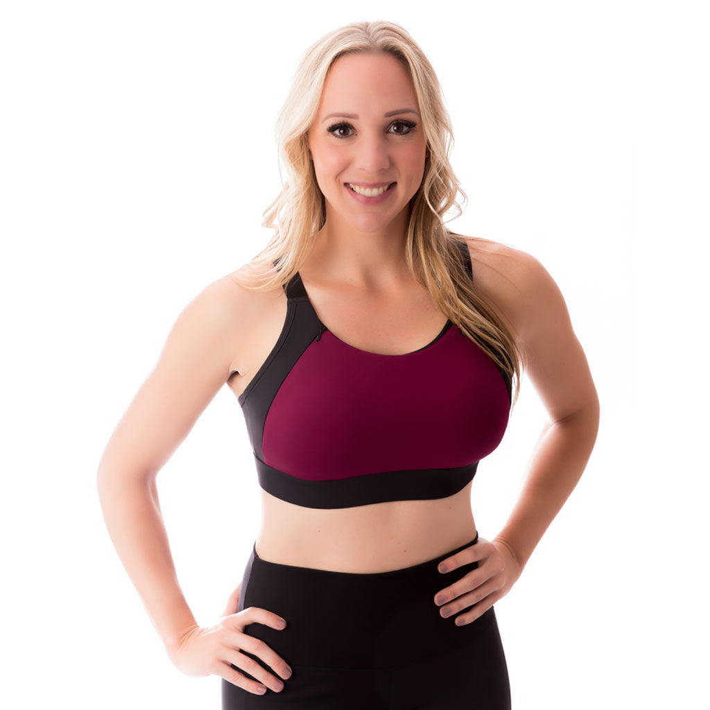 Selene Zip Nursing Sports Bra - Deep Magenta