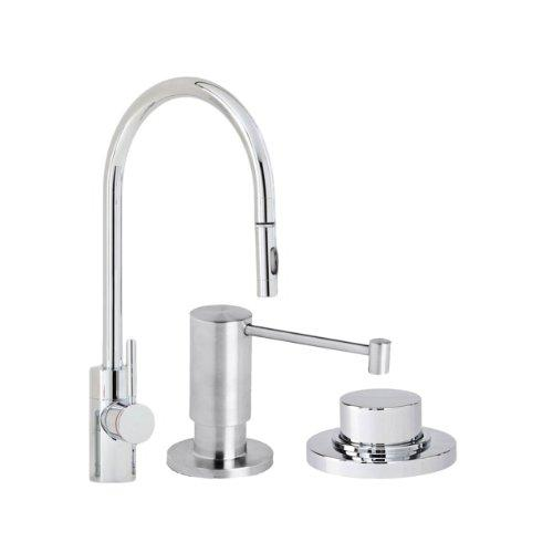 Waterstone 5400-3-ORB Parche Single Handle Kitchen Faucet with Pull Out Spray, Soap Dispenser and Air Switch, Black Oil Rubbed Bronze