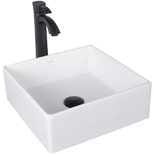 VIGO Bavaro Matte Stone Vessel Bathroom Sink and Otis Vessel Faucet with Pop Up, Matte Black