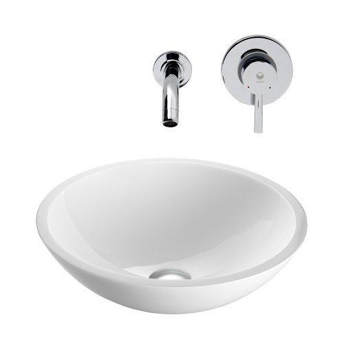 VIGO Flat Edged White Phoenix Stone Vessel Sink and Olus Wall Mount Faucet with Pop Up, Chrome