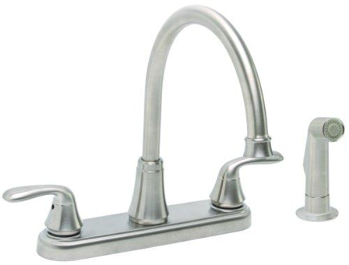 Premier 126968 Waterfront Kitchen Faucet With Two Handles And Side Spray, Brushed Nickel, Lead Free