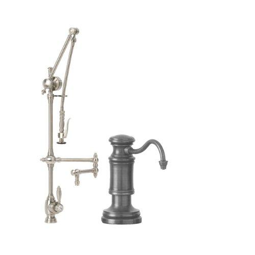 Waterstone 4410-12-2-SC Towson Kitchen Faucet Single Handle with 12-Inch Articulated Spout, Pull Out Spray and Soap/Lotion Dispenser, 2-Piece
