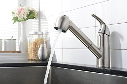 Comllen Commercial Stainless Steel Single Handle Pull Out Kitchen Faucet, Single Lever Pull Down Brushed Nickel Kitchen Faucets Without Deck Plate