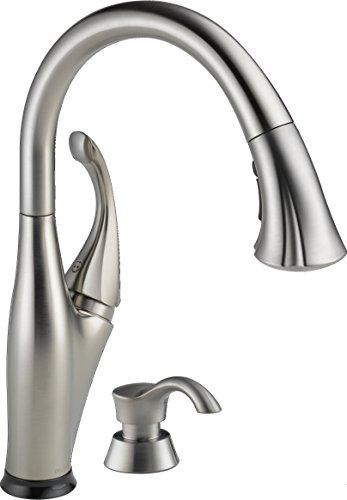 Delta 9192T-SSSD-DST Addison Single-Handle Pull-Down Touch Kitchen Faucet with Touch2O Technology, Magnetic Docking Spray Head and Soap Dispenser, Stainless