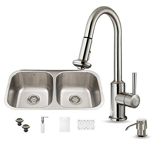 VIGO 32 inch Undermount 50/50 Double Bowl 18 Gauge Stainless Steel Kitchen Sink with Astor Stainless Steel Faucet, Two Grids, Two Strainers and Soap Dispenser