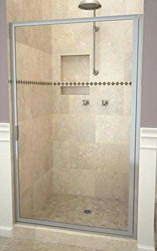 "Tile Redi USA 11RCBFD03471 Swing Shower Door, 70-1/2"" H x 33-3/4-34-3/4"" W, Clear Glass"