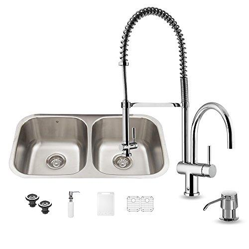 VIGO 32 inch Undermount 50/50 Double Bowl 18 Gauge Stainless Steel Kitchen Sink with Dresden Chrome Faucet, Two Grids, Two Strainers and Soap Dispenser