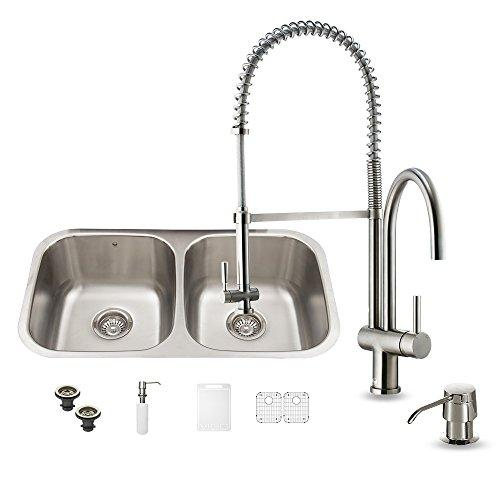 VIGO 32 inch Undermount 50/50 Double Bowl 18 Gauge Stainless Steel Kitchen Sink with Dresden Stainless Steel Faucet, Two Grids, Two Strainers and Soap Dispenser