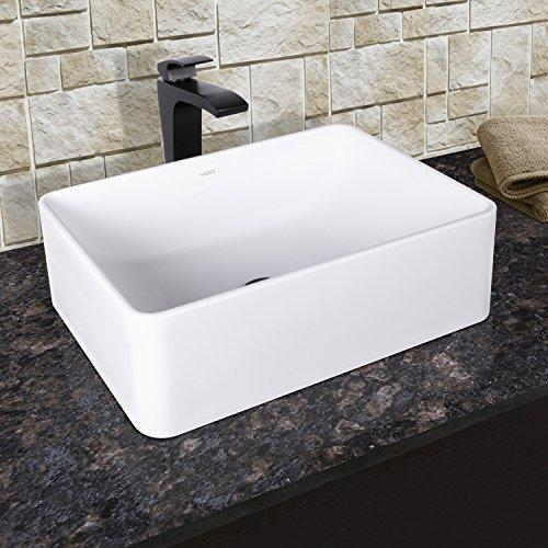 VIGO Caladesi Matte Stone Vessel Bathroom Sink and Blackstonian Vessel Faucet with Pop Up, Matte Black