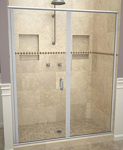 "Tile Redi USA 12RCBLP04676 Swing Shower Door, 76-1/8"" x 45-46"", Clear Glass"