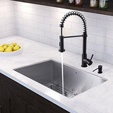 VIGO 30 inch Undermount Single Bowl 16 Gauge Stainless Steel Kitchen Sink with Edison Matte Black Faucet, Grid, Strainer and Soap Dispenser