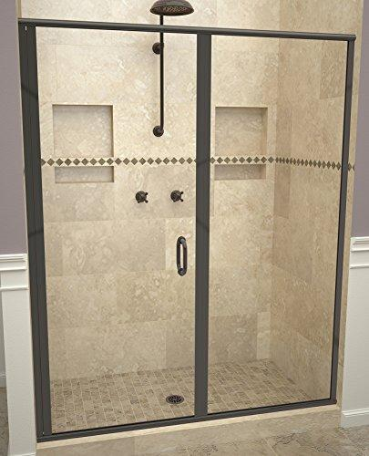 "Tile Redi USA 12RCOLP04772 Redi Swing Shower Door, 72-1/8"" x 46-47"", Clear Glass"