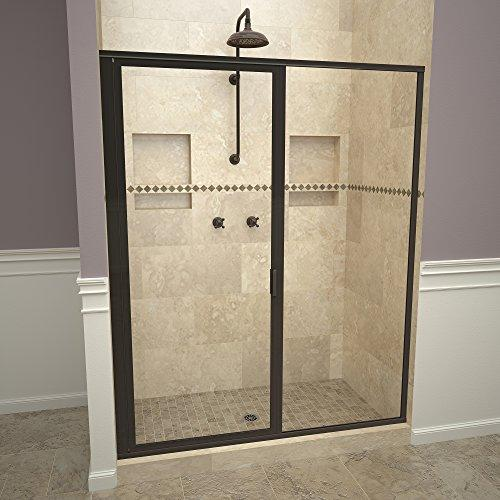 "Tile Redi USA 11RCOFP05872 Swing Shower Door, 72-1/8"" H x 57-58"" W, Clear Glass"