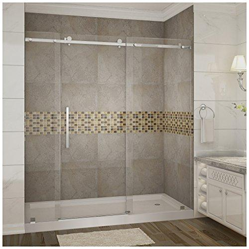 "Aston SDR976-TR-CH-72-10-R Moselle Completely Frameless Sliding Shower Door in Chrome Finish with Base and Right Drain, 72"" x 77.5"""