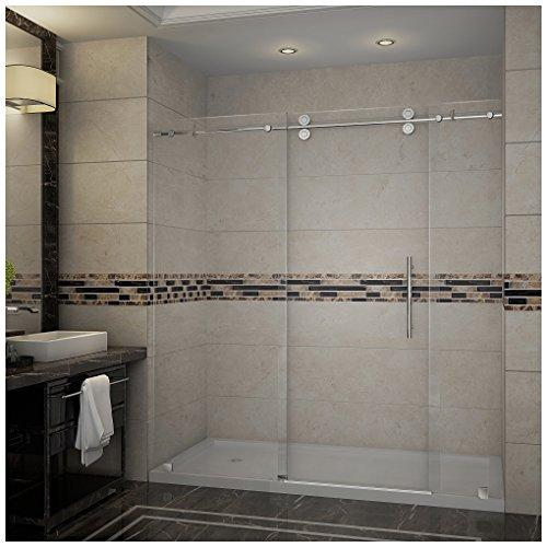 "Aston SDR978-TR-CH-72-10-L Langham Completely Frameless Sliding Shower Door in Chrome Finish with Base and Left Drain, 72"" x 77.5"""