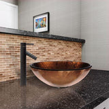 VIGO Russet Glass Vessel Bathroom Sink and Dior Vessel Faucet with Pop Up, Antique Rubbed Bronze