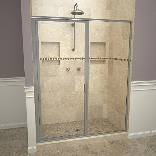 "Tile Redi USA 11RCBFP05972 Redi Swing Shower Door, 72-1/8"" H x 58-59"" W, Clear Glass"