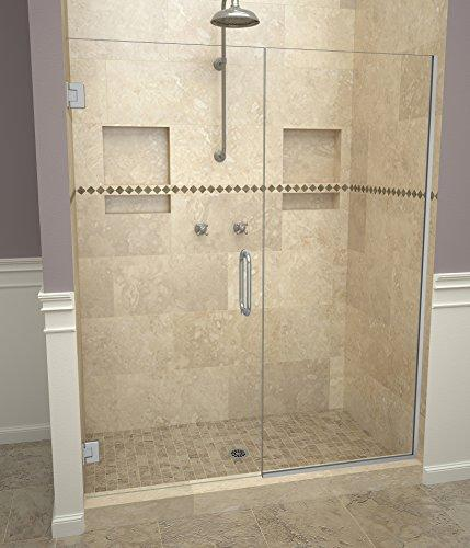 "Tile Redi USA 20VCBNP05876 Through-the-Glass Pull Handles Swing Shower Door, 76"" x 57-58"", Clear Glass"