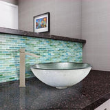 VIGO Simply Silver Glass Vessel Bathroom Sink and Duris Vessel Faucet with Pop Up, Brushed Nickel