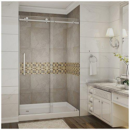 "Aston SDR976-TR-SS-48-10-L Moselle Completely Frameless Sliding Shower Door in Stainless Steel Finish with Base and Left Drain, 48"" x 77.5"""