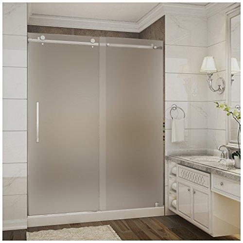 "Aston SDR976F-TR-CH-60-10-M Moselle Completely Frameless Frosted Glass Sliding Shower Door in Chrome Finish with Base and Center Drain, 60"" x 77.5"""