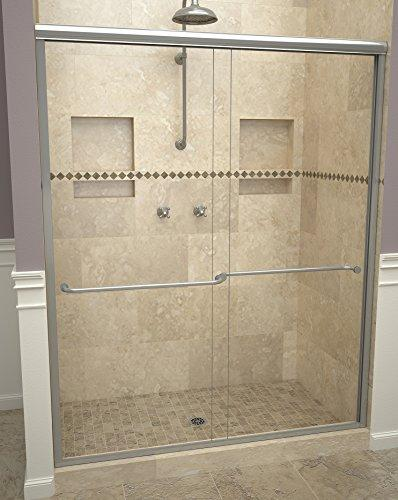 "Tile Redi USA 12RCBLB05870 Sliding Shower Door, 70"" H x 54-1/2-58-1/2"" W, Clear Glass"