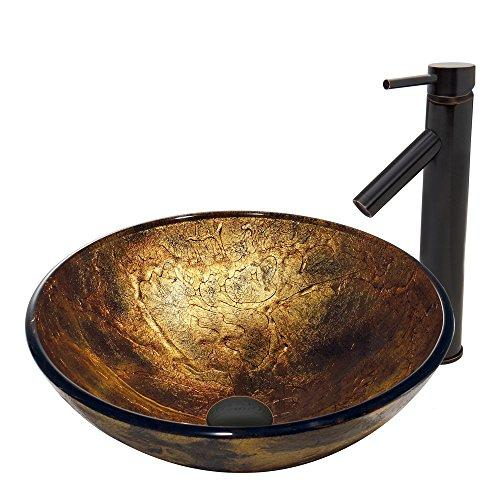 VIGO Copper Shapes Glass Vessel Bathroom Sink and Dior Vessel Faucet with Pop Up, Antique Rubbed Bronze