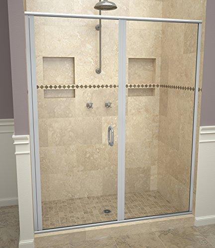 "Tile Redi USA 12RCBLP04672 Swing Shower Door, 72-1/8"" H x 45-46"" W, Clear Glass"