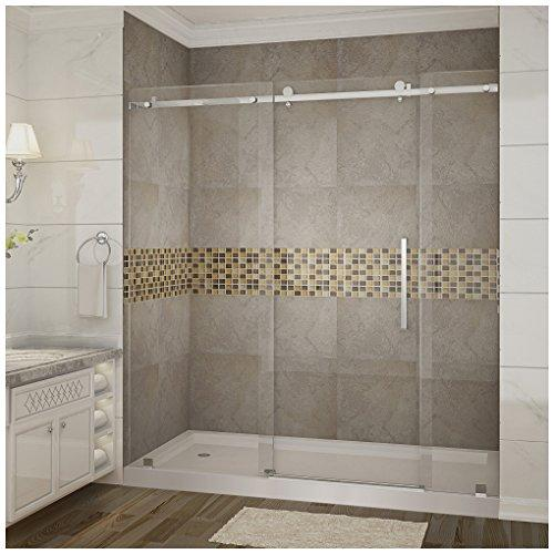 "Aston SDR976-TR-CH-72-10-L Moselle Completely Frameless Sliding Shower Door in Chrome Finish with Base and Left Drain, 72"" x 77.5"""