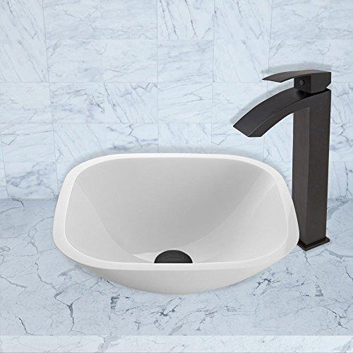 VIGO Square Shaped White Phoenix Stone Vessel Sink and Duris Vessel Faucet with Pop Up, Matte Black