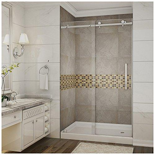 "Aston SDR976-TR-SS-48-10-R Moselle Completely Frameless Sliding Shower Door in Stainless Steel Finish with Base and Right Drain, 48"" x 77.5"""