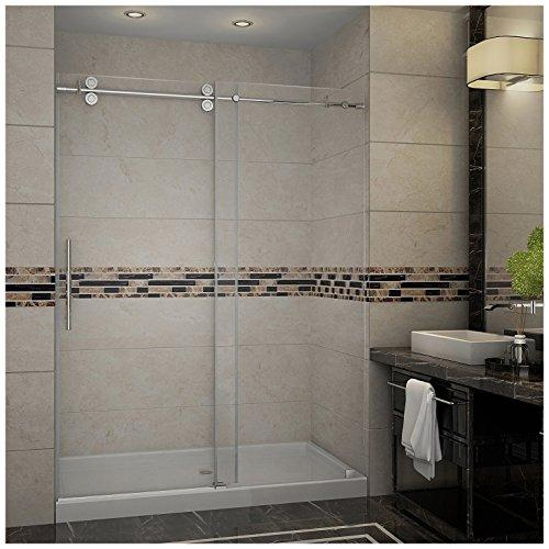 "Aston SDR978-TR-CH-60-10-M Langham Completely Frameless Sliding Shower Door in Chrome Finish with Base and Center Drain, 60"" x 77.5"""