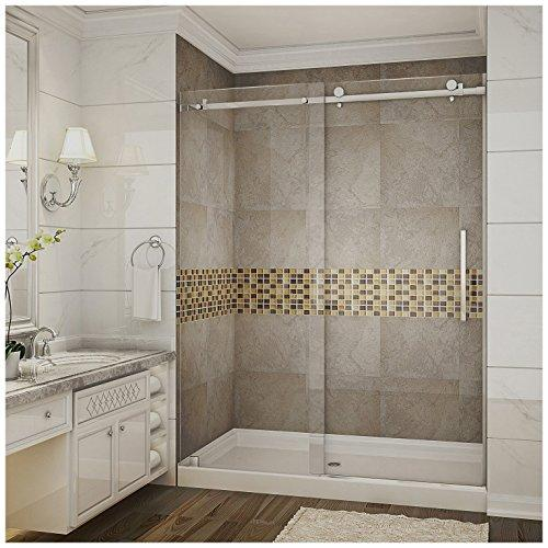 "Aston SDR976-TR-CH-60-10-M Moselle Completely Frameless Sliding Shower Door in Chrome Finish with Base and Center Drain, 60"" x 77.5"""
