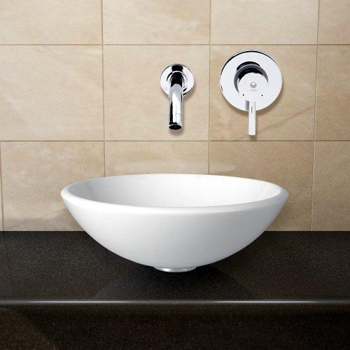 VIGO White Phoenix Stone Vessel Sink and Olus Wall Mount Faucet with Pop Up, Chrome