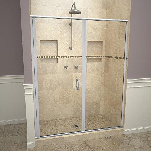 "Tile Redi USA 12RCBLP04772 Redi Swing Shower Door, 72-1/8"" H x 46-47"" W, Clear Glass"