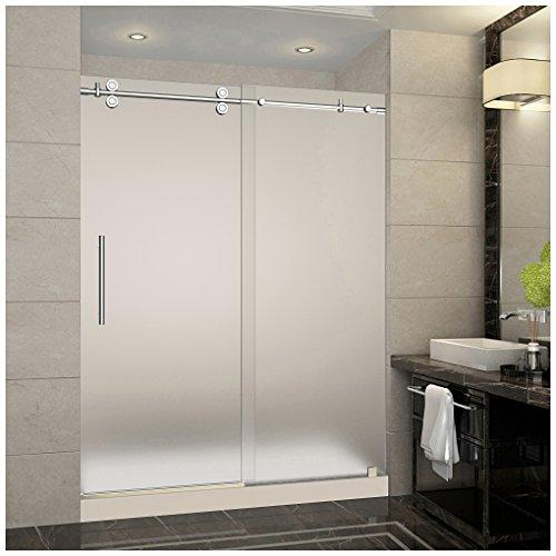 "Aston SDR978F-TR-CH-60-10-M Langham Completely Frameless Frosted Glass Sliding Shower Door in Chrome Finish with Base and Center Drain, 60"" x 77.5"""