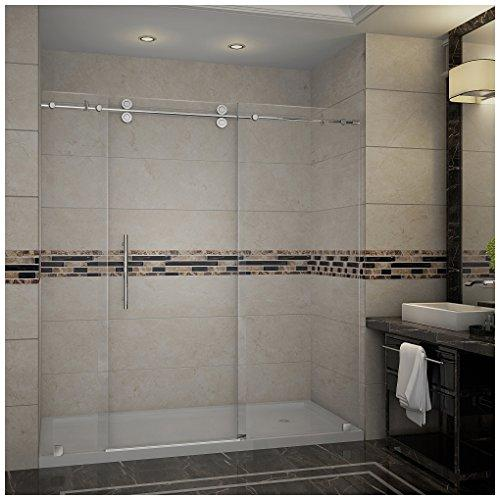 "Aston SDR978-TR-CH-72-10-R Langham Completely Frameless Sliding Shower Door in Chrome Finish with Base and Right Drain, 72"" x 77.5"""
